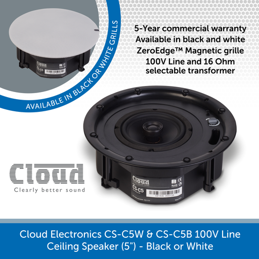 "Cloud Electronics CS-C5W & CS-C5B Professional 100V Line Ceiling Speaker (5"")"