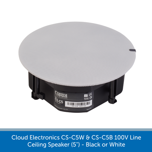 "Available with a white grill - Cloud Electronics CS-C5W & CS-C5B Professional 100V Line Ceiling Speaker (5"")"