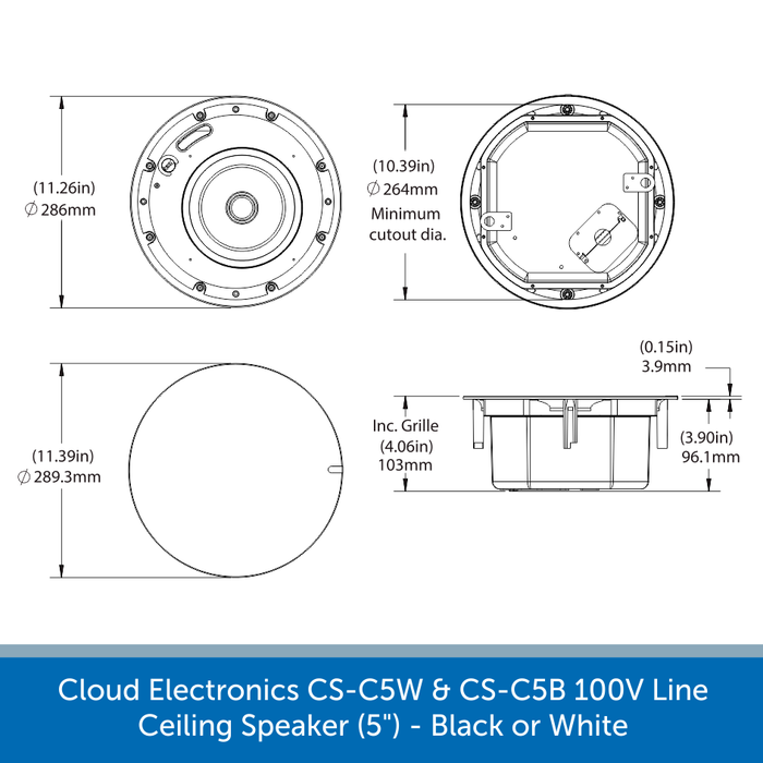 Showing the size of a Cloud Electronics CS-C6W & CS-C6B Professional 100V Line Ceiling Speaker