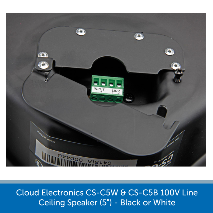 Showing the speaker connections for the Cloud Electronics CS-C6W & CS-C6B Professional 100V Line Ceiling Speaker