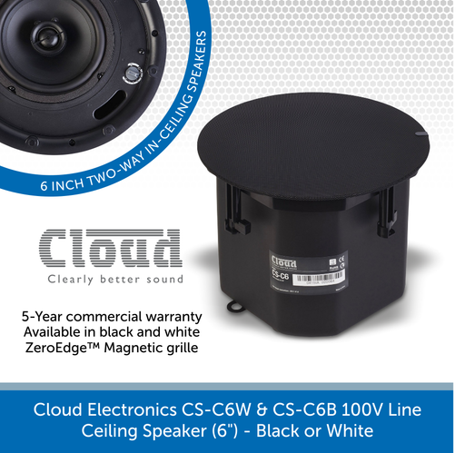 "Cloud Electronics CS-C6W & CS-C6B Professional 100V Line Ceiling Speaker (6"") - Black or White"