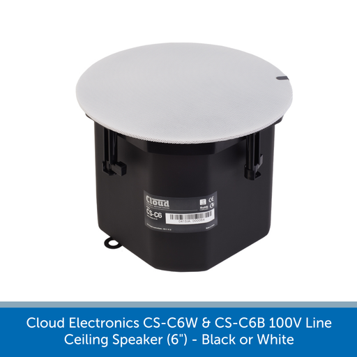 The Cloud Electronics CS-C6W & CS-C6B Ceiling Speakers are available in black or white