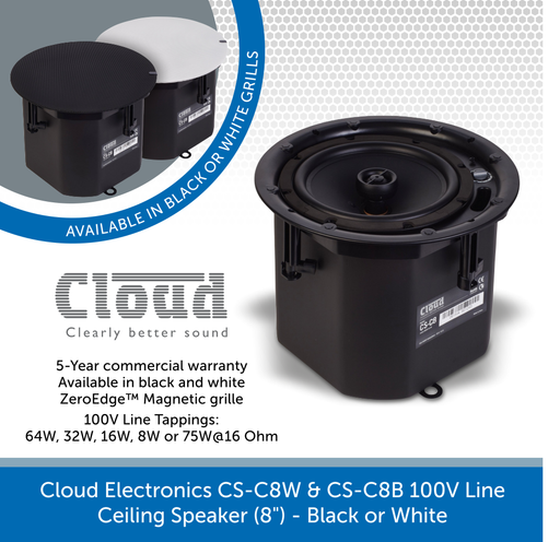 "Cloud Electronics CS-C8W & CS-C8B Professional 100V Line Ceiling Speaker (8"") - Black or White"