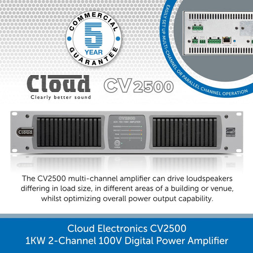 Cloud Electronics CV2500 - 1KW 2-Channel 100V Digital Power Amplifier
