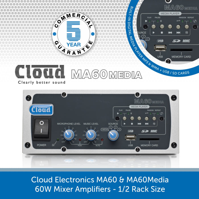 Cloud Electronics MA60 & MA60Media - 60W Mixer Amplifiers - 1/2 Rack Size