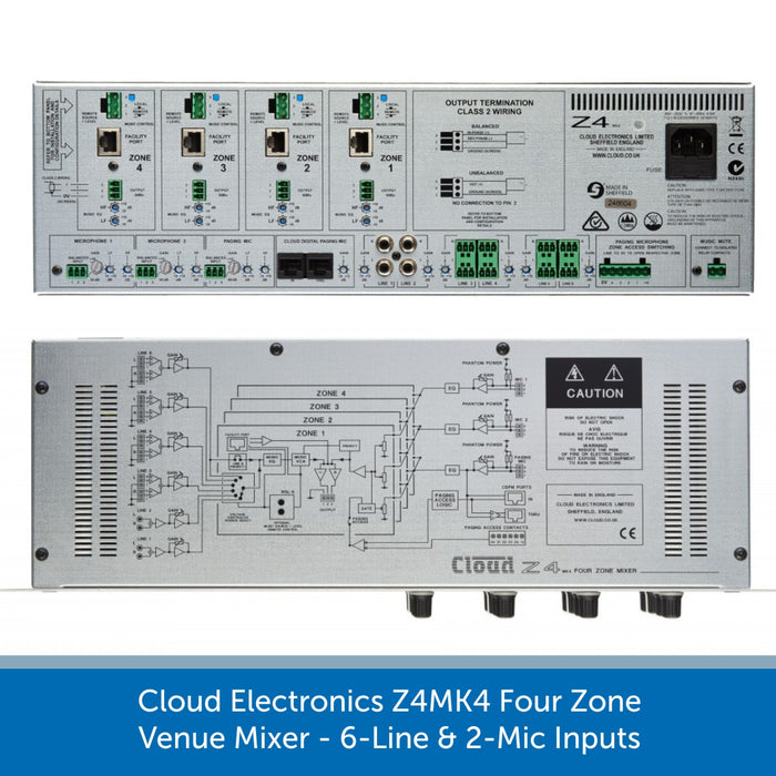 Cloud Electronics Z4MK4 - Four Zone Venue Mixer, 6-Line & 2-Mic Inputs