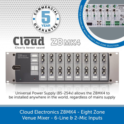 Cloud Electronics Z8MK4 - Eight Zone Venue Mixer, 6-Line & 2-Mic Inputs