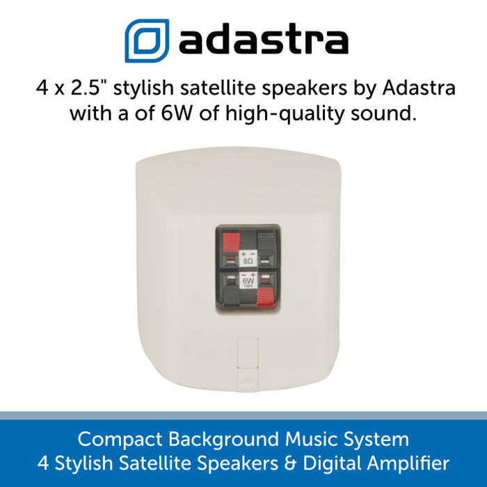 Showing the back of the Adastra satellite speaker