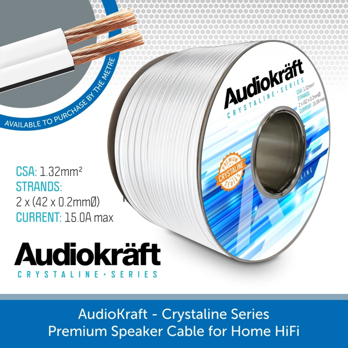 AudioKraft Crystaline Series - Premium Speaker Cable (Available in custom lengths)