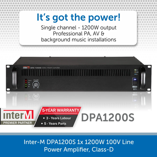 Inter-M DPA1200S 1x 1200W 100V Line Power Amplifier, Class-D