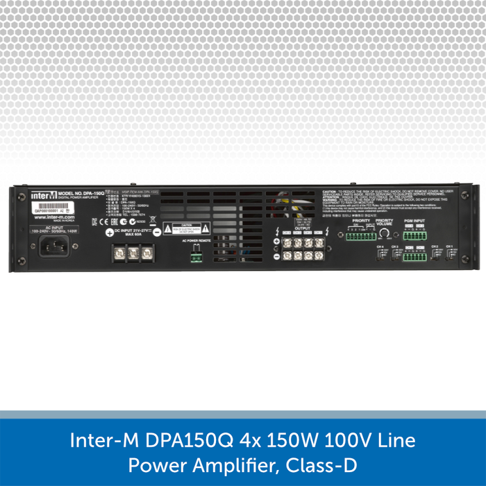 Inter-M DPA150Q 4x 150W 100V Line Power Amplifier, Class-D