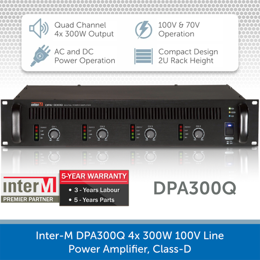 Inter-M DPA300Q 4x 300W 100V Line Power Amplifier, Class-D