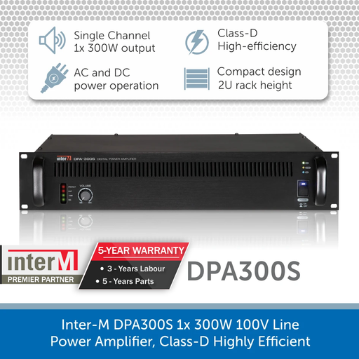 Inter-M DPA300S 1x 300W 100V Line Power Amplifier, Class-D Highly Efficient