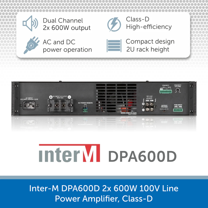 Inter-M DPA600D 2x 600W 100V Line Power Amplifier, Class-D - for professional PA, AV & background music installations