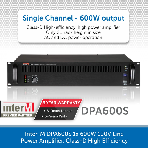 Inter-M DPA600S 1x 600W 100V Line Power Amplifier, Class-D High Efficiency