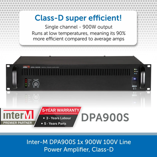 Inter-M DPA900S 1x 900W 100V Line Power Amplifier, Class-D