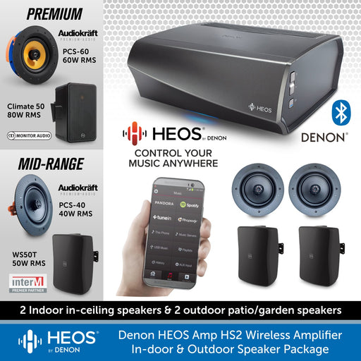 Denon HEOS Amp HS2 Wireless Amplifier with In-door & Outdoor Speaker Package, Wireless Music Streaming