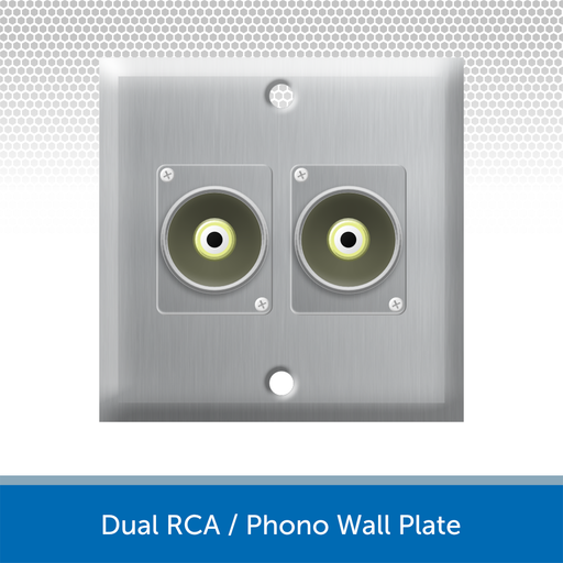 Dual RCA / Phono Wall Plate, 1 Gang, Brushed Steel