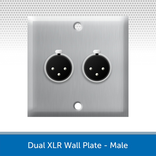 Dual XLR Wall Plate, 1 Gang, Brushed Steel - Male