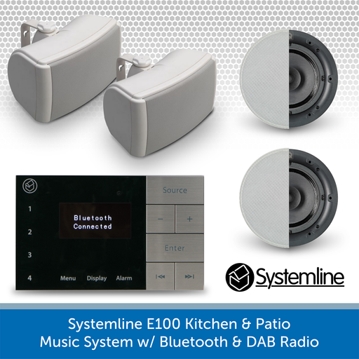 Systemline E100 Kitchen Ceiling Speakers & Garden Patio Music System - Bluetooth + DAB Radio