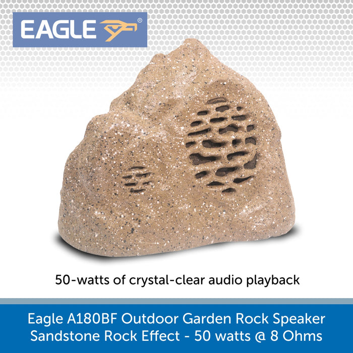 Eagle A180BF Outdoor Garden Rock Speaker, Sandstone Rock Effect - 50 watts @ 8 Ohms