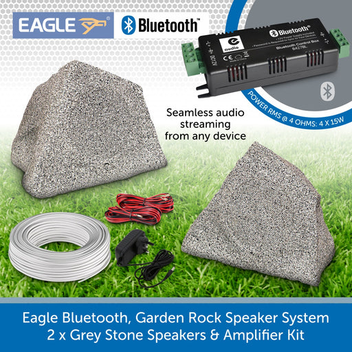 Eagle Bluetooth, Garden Rock Speaker System - 2 x Grey Stone Weatherproof Speakers & Amplifier Kit