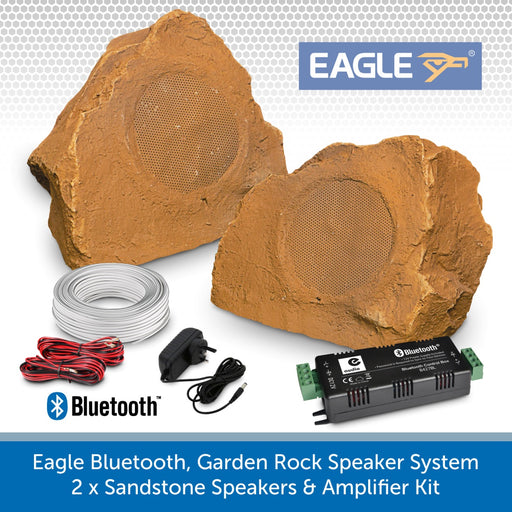 Eagle Bluetooth, Garden Rock Speaker System - 2 x Sandstone Weatherproof Speakers & Amplifier Kit