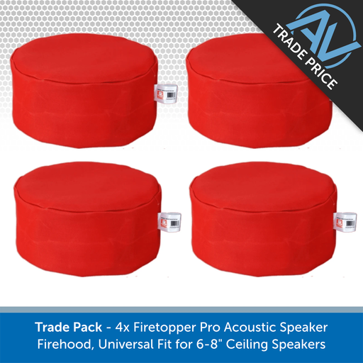 "Trade Pack - 4x Firetopper Pro Acoustic Speaker Firehoods, Universal Fit for 6-8"" Ceiling Speakers"