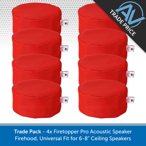 "Trade Pack - 8x Firetopper Pro Acoustic Speaker Firehoods, Universal Fit for 6-8"" Ceiling Speakers"