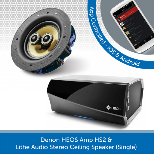 Denon HEOS Amp HS2 + Lithe Audio Stereo Ceiling Speaker (Single)