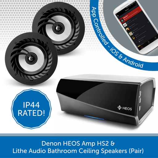 Denon HEOS Amp HS2 + Lithe Audio Bathroom Ceiling Speakers (Pair)
