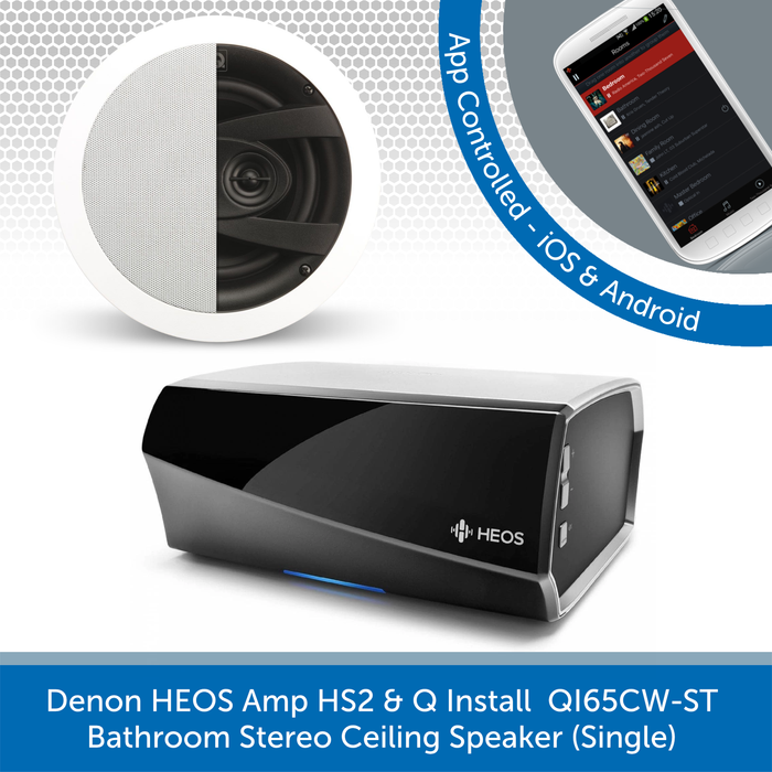 Denon HEOS Amp HS2 + Q Install QI65CW-ST Bathroom Stereo Ceiling Speaker (Single)