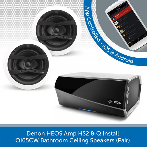 Denon HEOS Amp HS2 + Q Install QI65CW Bathroom Ceiling Speakers (Pair)