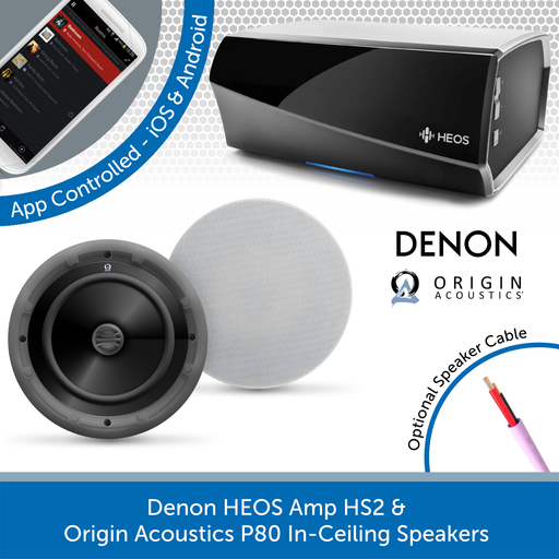 Denon HEOS Amp HS2 & Origin Acoustics P80 In-Ceiling Speakers