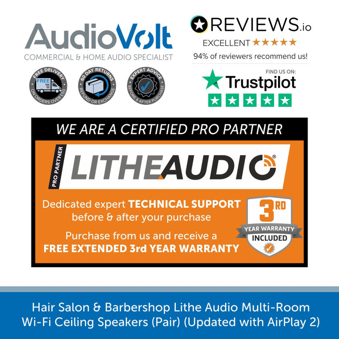 Hair Salon & Barbershop Lithe Audio Multi-Room Wi-Fi Ceiling Speakers (Pair) (Updated with AirPlay 2)