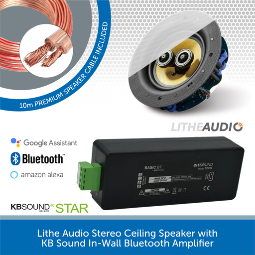 Lithe Audio Stereo Ceiling Speaker with KB Sound In-Wall Bluetooth Amplifier
