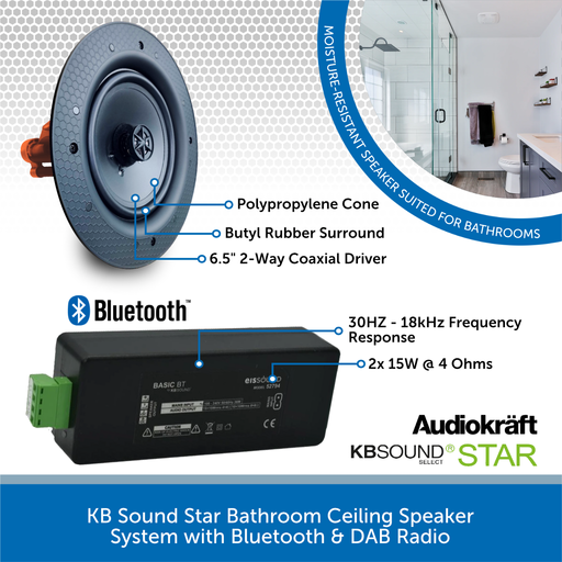 KB Sound Bluetooth Bathroom Ceiling Speaker System with In-Wall Amplifier