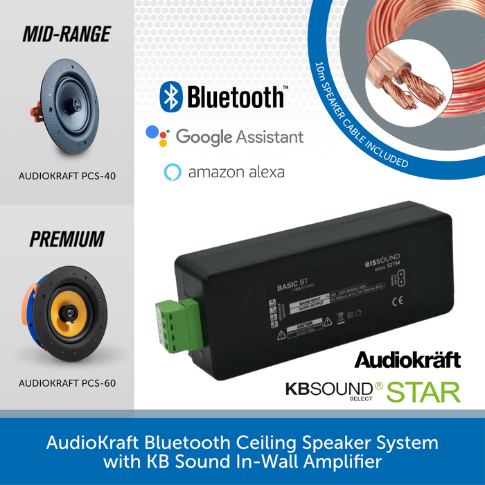 AudioKraft Bluetooth Ceiling Speaker System with KB Sound In-Wall Amplifier
