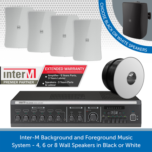 Inter-M Background and Foreground Music System - 4, 6 or 8 Wall Speakers in Black or White