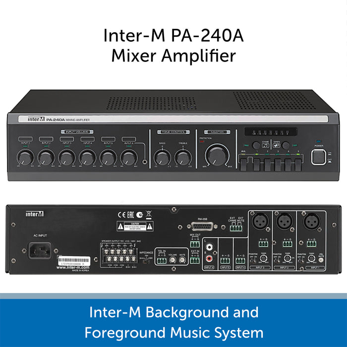 Inter-M Background and Foreground Music System - PA-240A Amp Connections