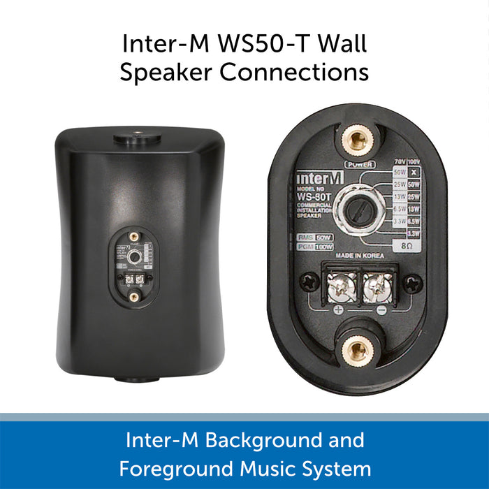 Inter-M Background and Foreground Music System - SW50T Speaker Connections