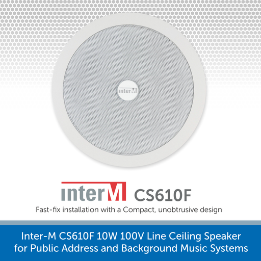 Inter-M CS610F 10W 100V Line Ceiling Speaker for Public Address and Background Music Systems