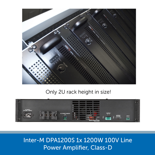 U2 rack mounts for the Inter-M DPA1200S 1x 1200W 100V Line Power Amplifier, Class-D