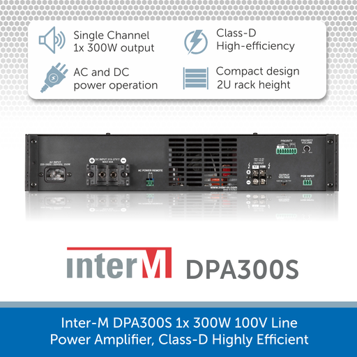 Showing the back of a Inter-M DPA300S 1x 300W 100V Line Power Amplifier, Class-D Highly Efficient