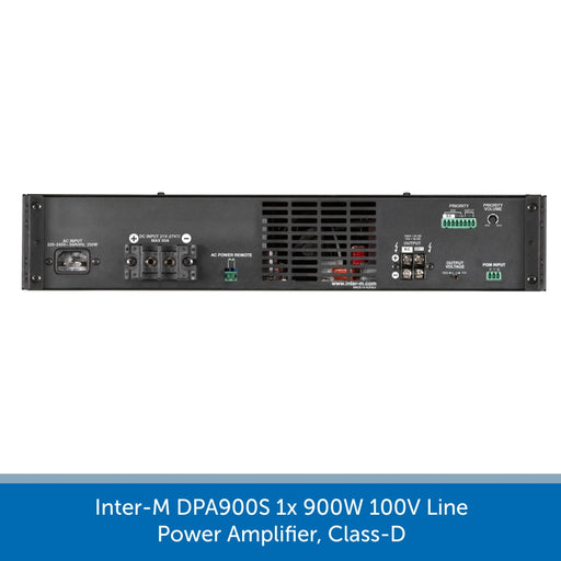 showing the back of a Inter-M DPA900S 1x 900W 100V Line Power Amplifier, Class-D