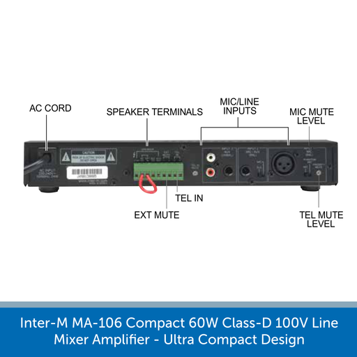 Inter-M MA-106 Compact 60W Class-D 100V Line Mixer Amplifier - Ultra Compact Design