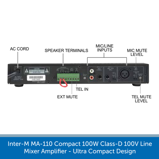 Showing the back of a Inter-M MA-110 Compact 100W Class-D 100V Line Mixer Amplifier - Ultra Compact Design