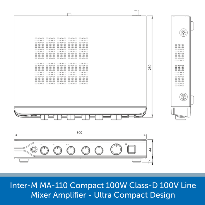 Showing the size of a Inter-M MA-110 Compact 100W Class-D 100V Line Mixer Amplifier - Ultra Compact Design