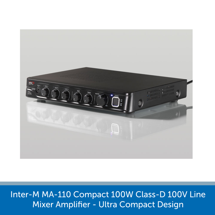 Inter-M MA-110 Compact 100W Class-D 100V Line Mixer Amplifier - Ultra Compact Design