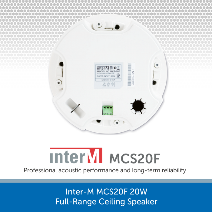 Showing the back of a Inter-M MCS20F 20W Full-Range Ceiling Speaker